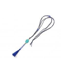 Μακρύ κολιέ με γαλάζιο χαολίτη