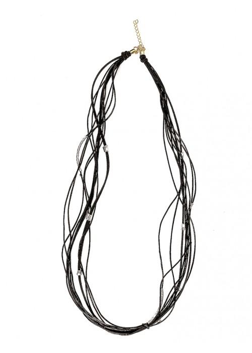 Πολλαπλό κολιέ με μαύρο μεταξωτό κορδόνι