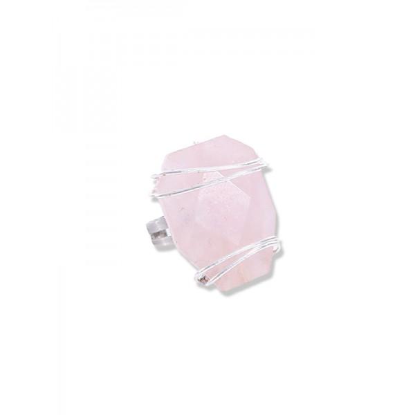 Χειροποίητο δαχτυλίδι από ρόζ χαλαζία