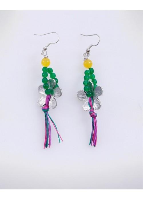 Χειροποίητα σκουλαρίκια με πολύχρωμα jade