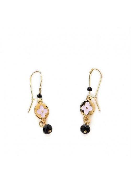 Χειροποίητα σκουλαρίκια με ροζ λουλουδάκι από σμάλτο