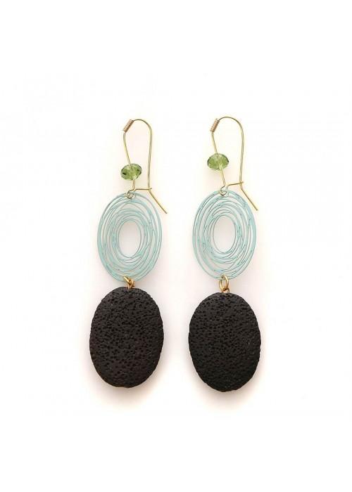 Σκουλαρίκια με μαύρη λάβα (Α440)