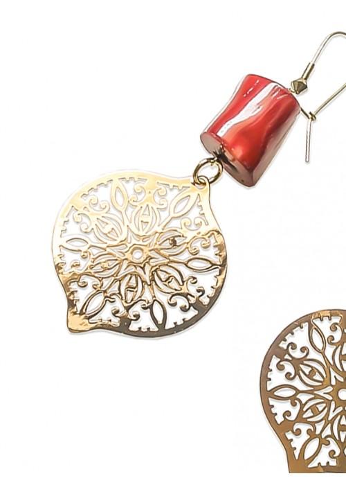 Χειροποίητα σκουλαρίκια, με lazer-cut, σε ρόζ-χρυσό και κοράλλι