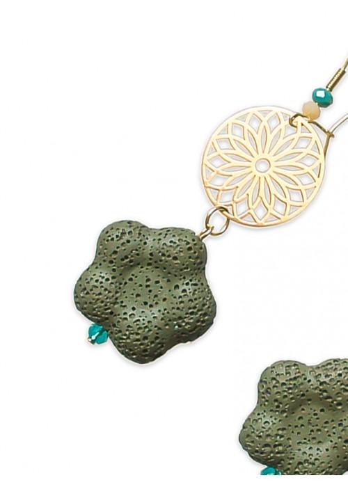 Χειροποίητα σκουλαρίκια, με πράσινη λάβα, λουλούδι