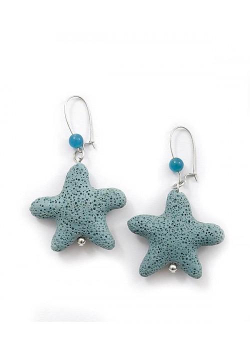 Χειροποίητα σκουλαρίκια με γαλάζιο αστερία λάβα
