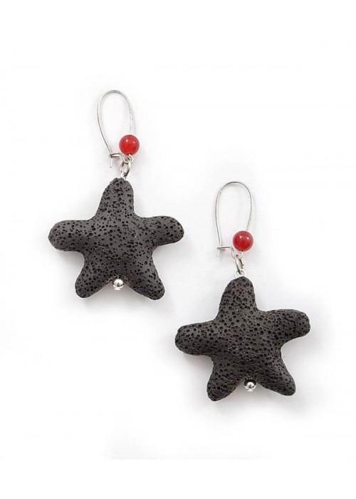 Χειροποίητα σκουλαρίκια με μαύρο αστερία απο λάβα