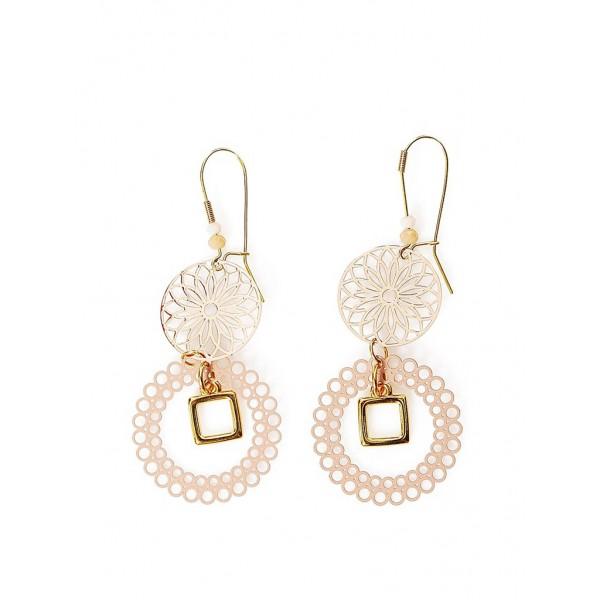 Χειροποίητα μακριά σκουλαρίκια σε ρόζ-χρυσό