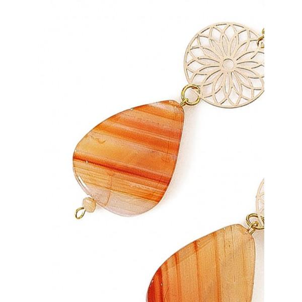 Μακριά σκουλαρίκια με αχάτη Βραζιλίας