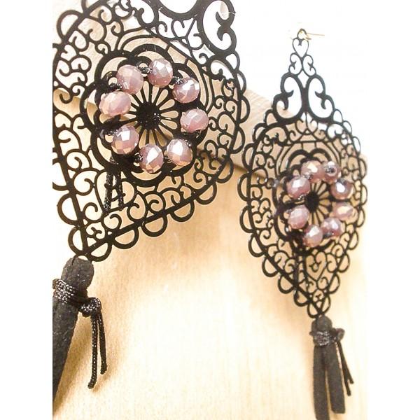 Μακριά σκουλαρίκια με μαύρα lazer-cut στοιχεία