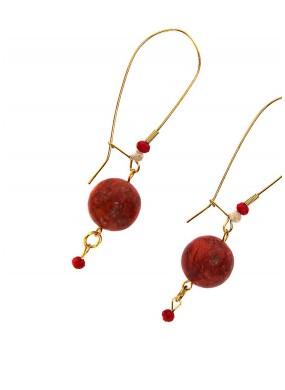 Σκουλαρίκια με μπίλιες από κόκκινο κοράλλι