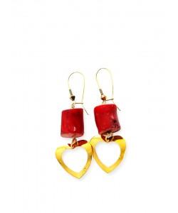 Σκουλαρίκια με κόκκινο κοράλλι