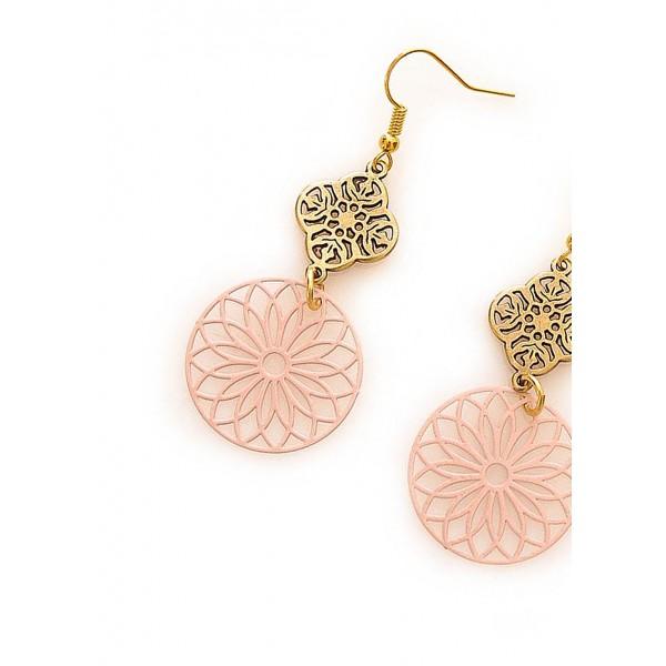 Χειροποίητα μεσαία σκουλαρίκια, με laser-cut φιλιγκρέ σε χρώμα ρόζ
