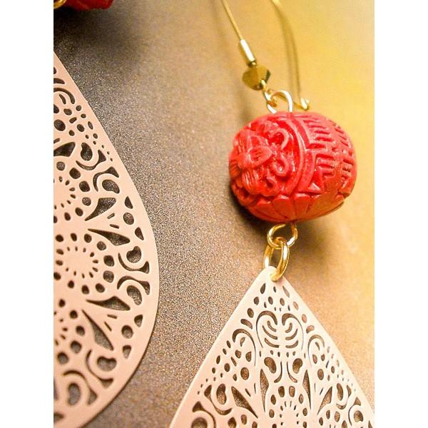 Μακριά σκουλαρίκια με κόκκινο κινναβαρίτη
