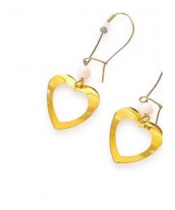 Σκουλαρίκια με επίχρυσες καρδιές και opal κρύσταλλο