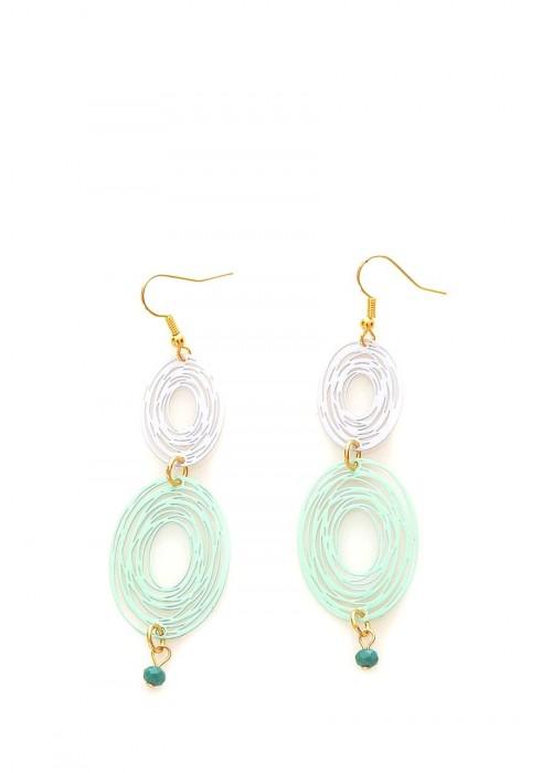 Μακριά σκουλαρίκια με laser-cut φιλιγκρέ σε χρώμα γκρί και γαλάζιο