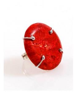 Χειροποίητο δακτυλίδι με φυσικό πλακέ Κοράλλι