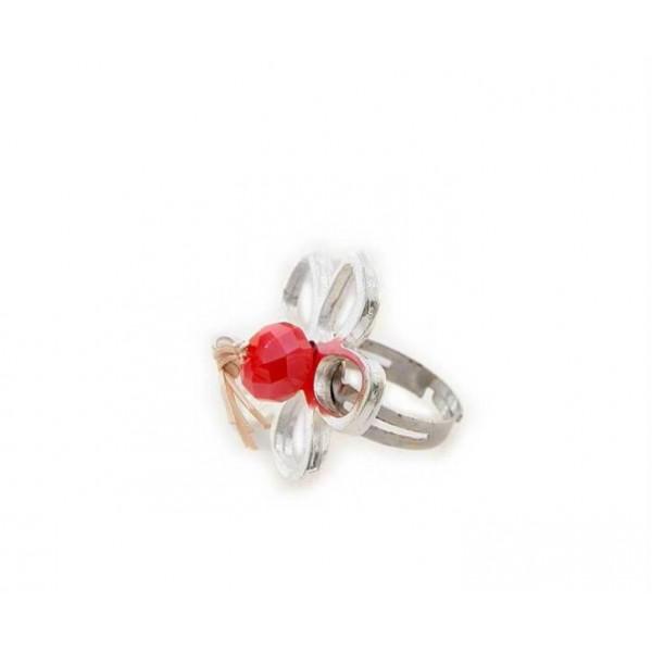 Χειροποίητο δαχτυλίδι μαργαρίτα με κοραλλί κρύσταλλο