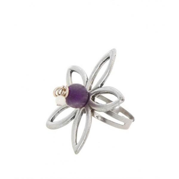 Χειροποίητο δαχτυλίδι λουλούδι με αμέθυστο