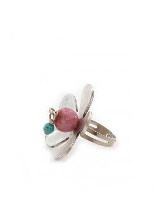 Χειροποίητο δαχτυλίδι λουλούδι με ρόζ αχάτη