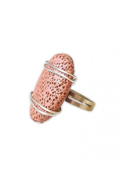 Χειροποίητο δαχτυλίδι με ηφαιστειακή τερακότα λάβα