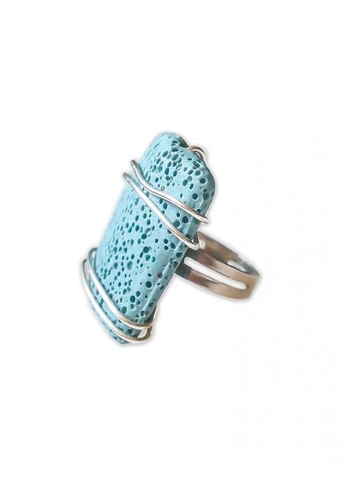 Χειροποίητο δαχτυλίδι με ηφαιστειακή γαλάζια λάβα
