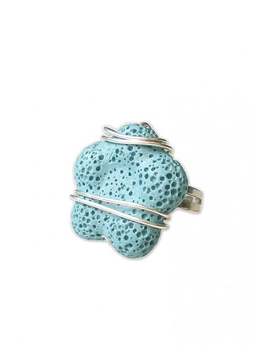 Χειροποίητο δαχτυλίδι με ηφαιστειακή γαλάζια λάβα-R875