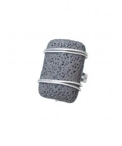 Χειροποίητο δαχτυλίδι με ηφαιστειακή μαύρη λάβα