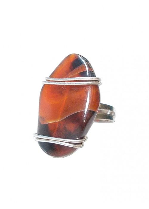 Χειροποίητο δαχτυλίδι με αχάτη και γάμπα που αυξομειώνετα