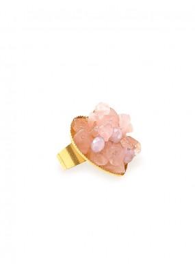Δαχτυλίδι με ορυκτό ρόζ χαλαζία