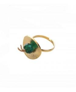Δαχτυλίδι χειροποίητο, με πράσινο κρύσταλλο