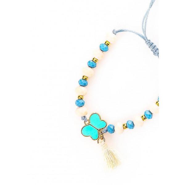 Βραχιόλι σε μπέζ και γαλάζιο χρώμα και πεταλούδα