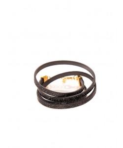 Χειροποίητο διπλό βραχιόλι με glitter pattern σε μαύρο χρώμα