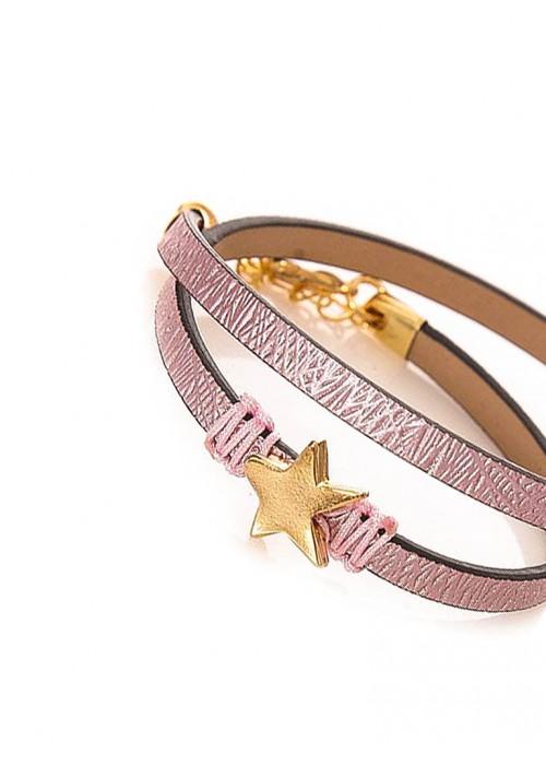 Χειροποίητο διπλό βραχιόλι με glitter pattern σε ρόζ χρώμα και αστεράκι