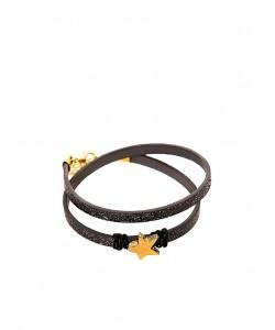 Χειροποίητο διπλό βραχιόλι με glitter pattern σε μαύρο χρώμα και αστεράκι