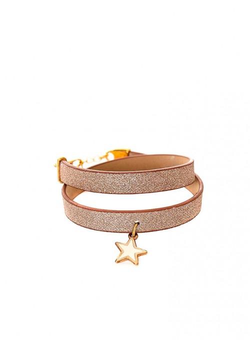 Διπλό βραχιόλι με glitter pattern σε μπέζ χρώμα και αστεράκι από σμάλτο