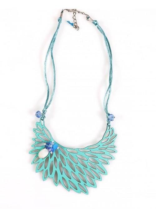Χειροποίητο stαtement necklace, με δερμάτινο φτερό σε τυρκουάζ χρώμα