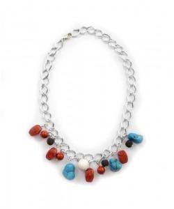 Χειροποίητο stαtement necklace με φυσικά κοράλλια και λάβες