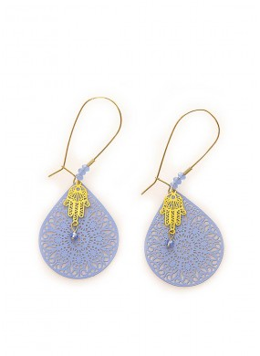 Μακριά σκουλαρίκια σε γαλάζιο χρώμα και επίχρυσο hamsa